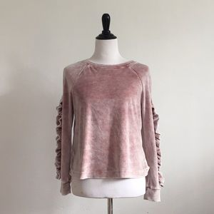 Cupio velour dusty pink mineral wash sweater